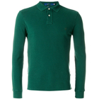 Green cotton long sleeved no pocket polo shirt with 2 buttons