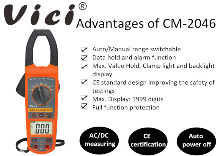 CE Standard CM-2046 Clamp Back Light AC DC Clamp Meter