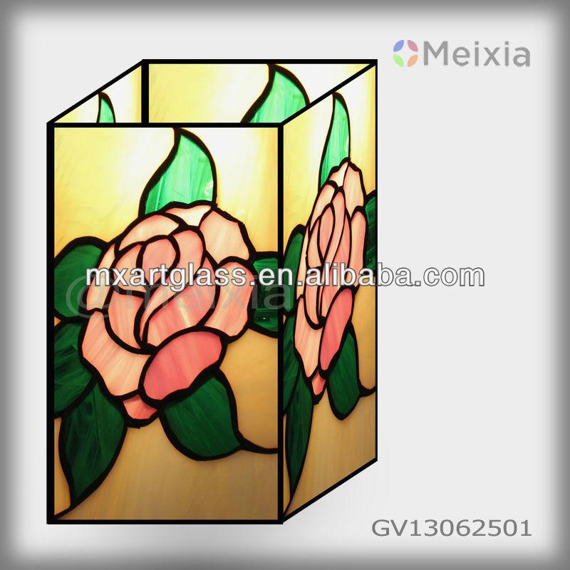 Mx170036 2 groothandel china tiffany stijl roos glas in lood vaas voor huisdecoratie glas en - Afbeelding van huisdecoratie ...