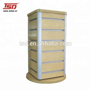 TSD-W113 Custom retail store accessory table top rotating wooden display stand,slatwall revolving display rack