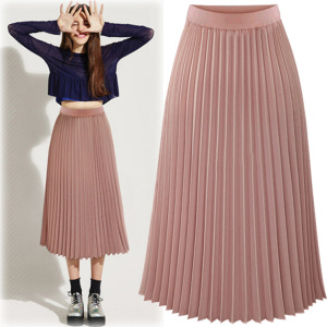 Elegant Women Pleated Long Skirt Bohemian High Waist Chiffon Ladies Skirt Beach Pleated Skirts Solid White Black Pink
