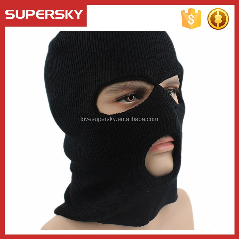 A662-1 Knitted 3-hole Ski Mask Hat Acrylic Outdoor Full Face Beanie ...
