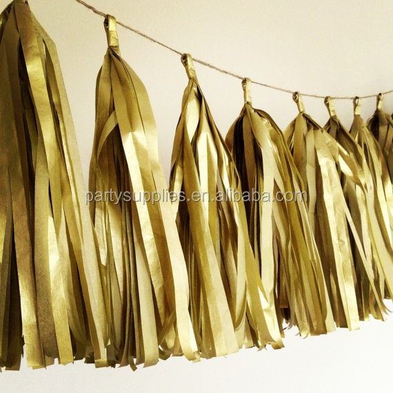 GOLD METALLIC paper tassel garland for wedding decorations metallic gold theme party