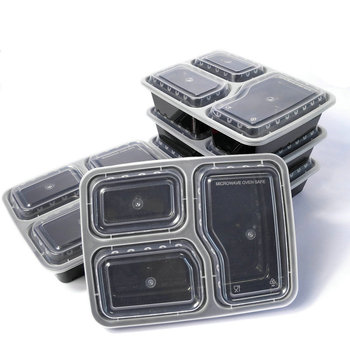 Hot new products for 2017 food garde clear plastic PP biodegradable disposable food container with 3 compartment