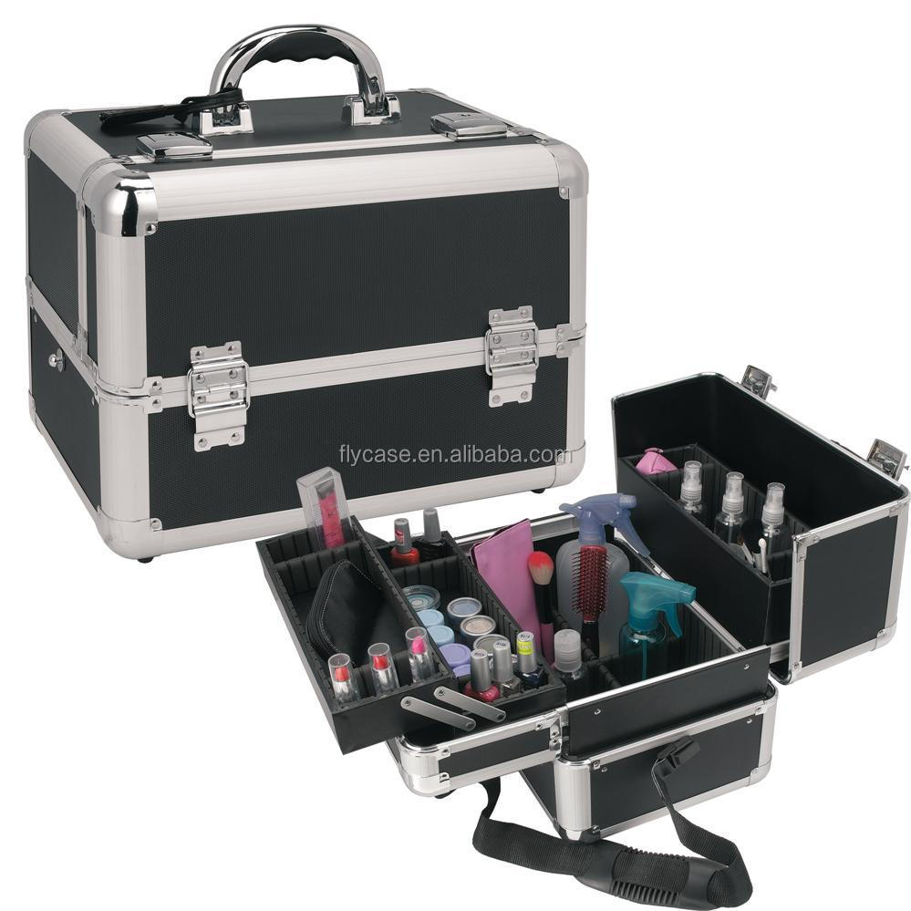 new design shining removable cosmetic aluminum case with tray inside pull two side and fabric lining