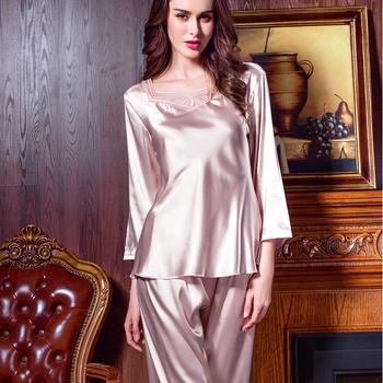 dd541debf5eb Women s Satin Sleepwear Two-piece Long Sleeve Pajama Set with Long Pjs Pants