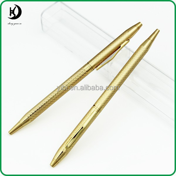 JD-LA21customized logo Gold plate metal slim ball pen for collection