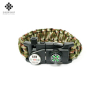 Dropship DS-SG1008 2019 best selling compass survival bracelet whistle for outdoor hiking camping