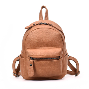 Paper Leather Girls Small Pure Color Shoulder Backpacks