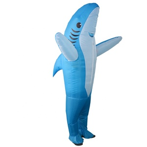Small MOQ custom design inflatable shark adult cosplay costume