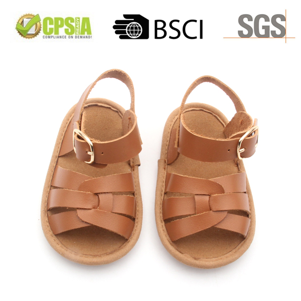 2017 new design genuine leather non-slip baby shoes sandals for baby