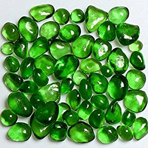 My Fireplace Glass - 22 Pound Pebble Fireplace Glass - 1/4-3/8 Inch Size 2, Green Apple Colored
