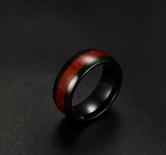 New Arrival Fashion Stainless Steel Gold Wooden Tungsten Carbide Cock Ring Men Jewelry