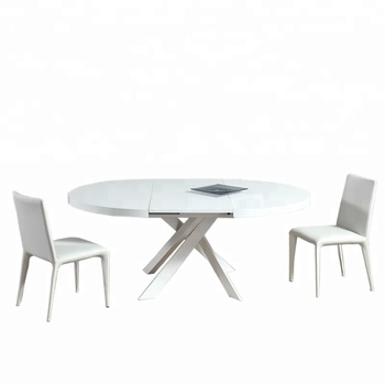 Excellent Quality White Gloss Lacquered Wooden Dining Table Extendable Table Top Buy Extendable Dining Table Wooden Round Dining Table Convertible Table High Quality Product On Alibaba Com