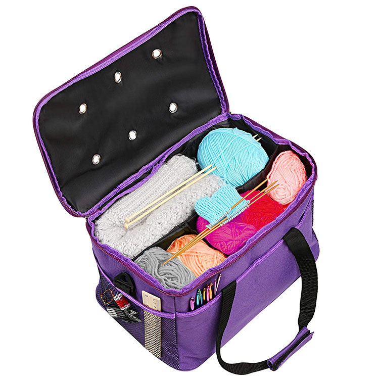 Knitting Bag Yarn Storage Bag Yarn Bag with Inner Divider Portable for Carrying Needles Accessories