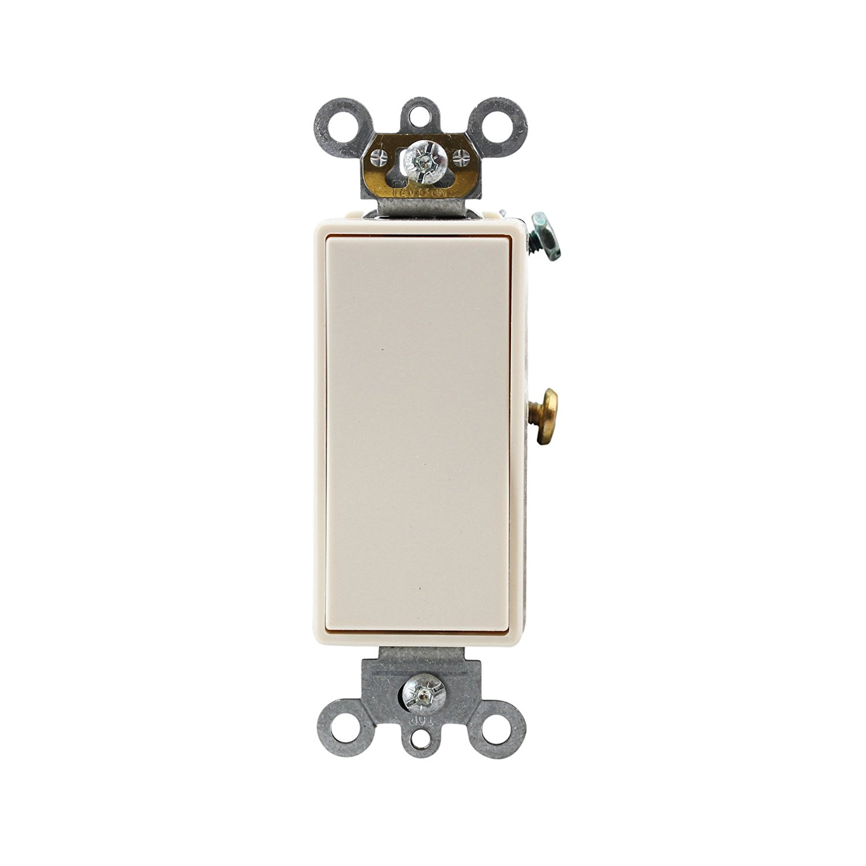 Leviton 5621-2T 20A 120/277V Decora Plus Rocker Single-Pole AC Quiet Switch, Light Almond(10 Pack)