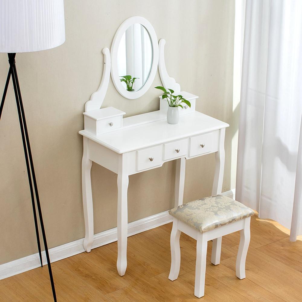 Set White Bedroom Vanity Dressing Table