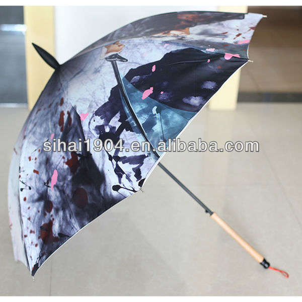 New design straight writing brush umbrella Chinese style umbrella