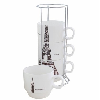 Donghan Eiffel Tower Stackable Coffee Mugs With Rack Buy