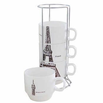 Donghan Eiffel Tower Stackable Coffee Mugs With Rack