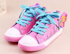 Hot selling Spring Autumn Butterfly Children Sneakers High top Lace Girls Canvas Shoes