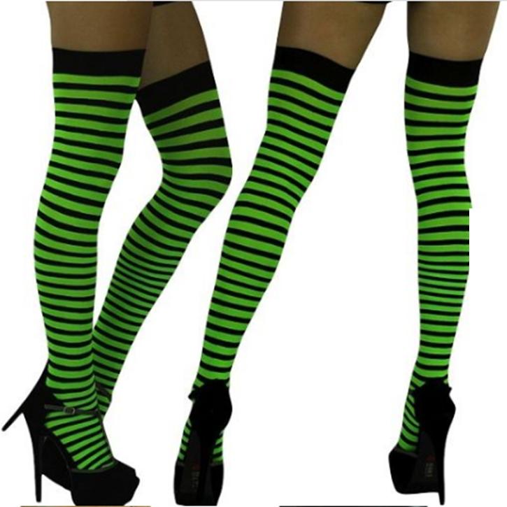 255b50321 Moda Colorida Mulheres Sexy Listrado Coxa Elevações Meias meia-calça ...