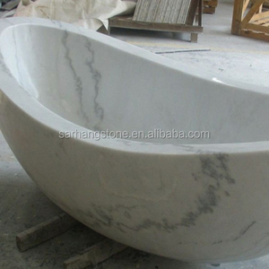 White Carrara Solid Natural Marble Bathtub Price (Factory Supplying)