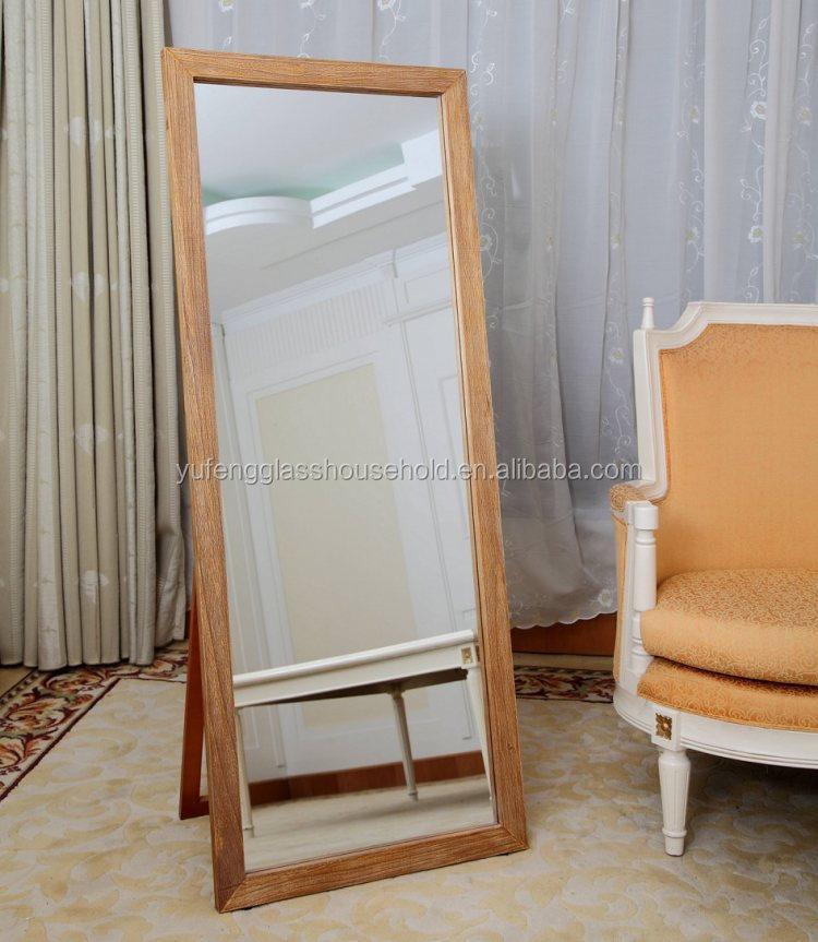 Massief hout slaapkamer dressing spiegel omlijst staande for Staande spiegel hout