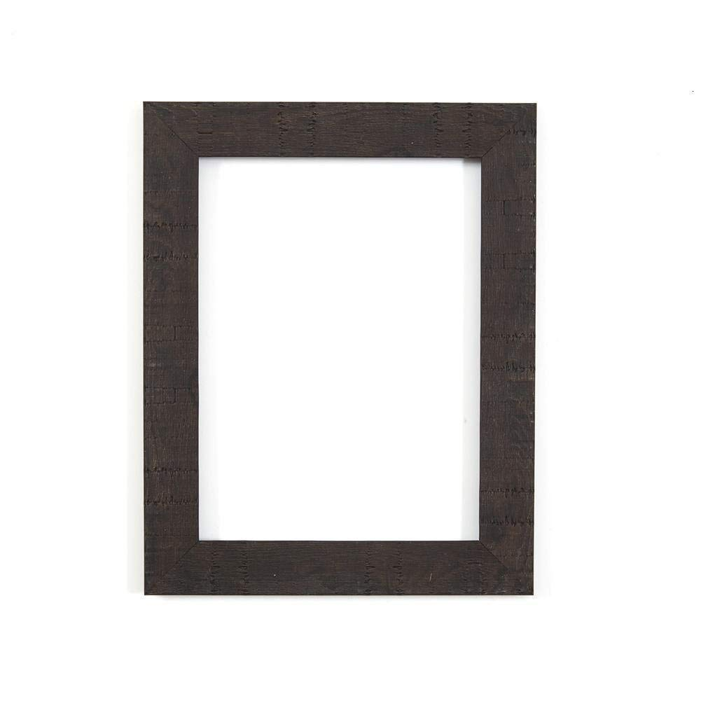 "Memory Box Shabby Chic Rustic/Wood Grain Picture/Photo Frame With An MDF Backing Board Ready To Hang Or Stand With A High Clarity Styrene Shatterproof Perspex Sheet 7""X5"" Black"