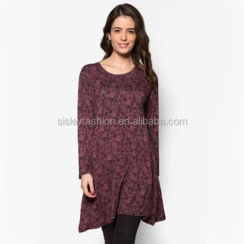 cb0fb075f7167 2017 fashion design custom printing tunic muslim wear long sleeve tunic top