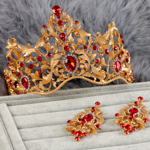 Bulk Indian Bridal Hair Accessories Baroque Red Rhinestone Gold plated Queen tiara and crowns