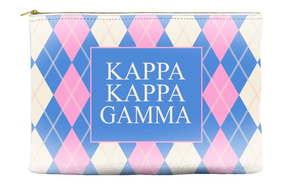 Kappa Kappa Gamma Argyle Pattern Pink Blue Cosmetic Accessory Pouch Bag for Makeup Jewelry & other Essentials