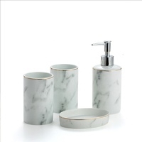 China Manufacturer Marble Pattern Porcelain 4 Piece Ceramic Bathroom Accessory Sets