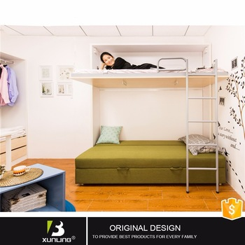 Latest Designs Wood Double Deck Single Wall Bed