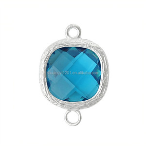 Square Shape Birthstone Connector Jewellery Making Accessories Custom