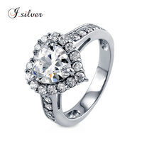 Wholesale 925 sterling silver bridal wedding rings women with Heart imprint CZ Halo Heart R500308