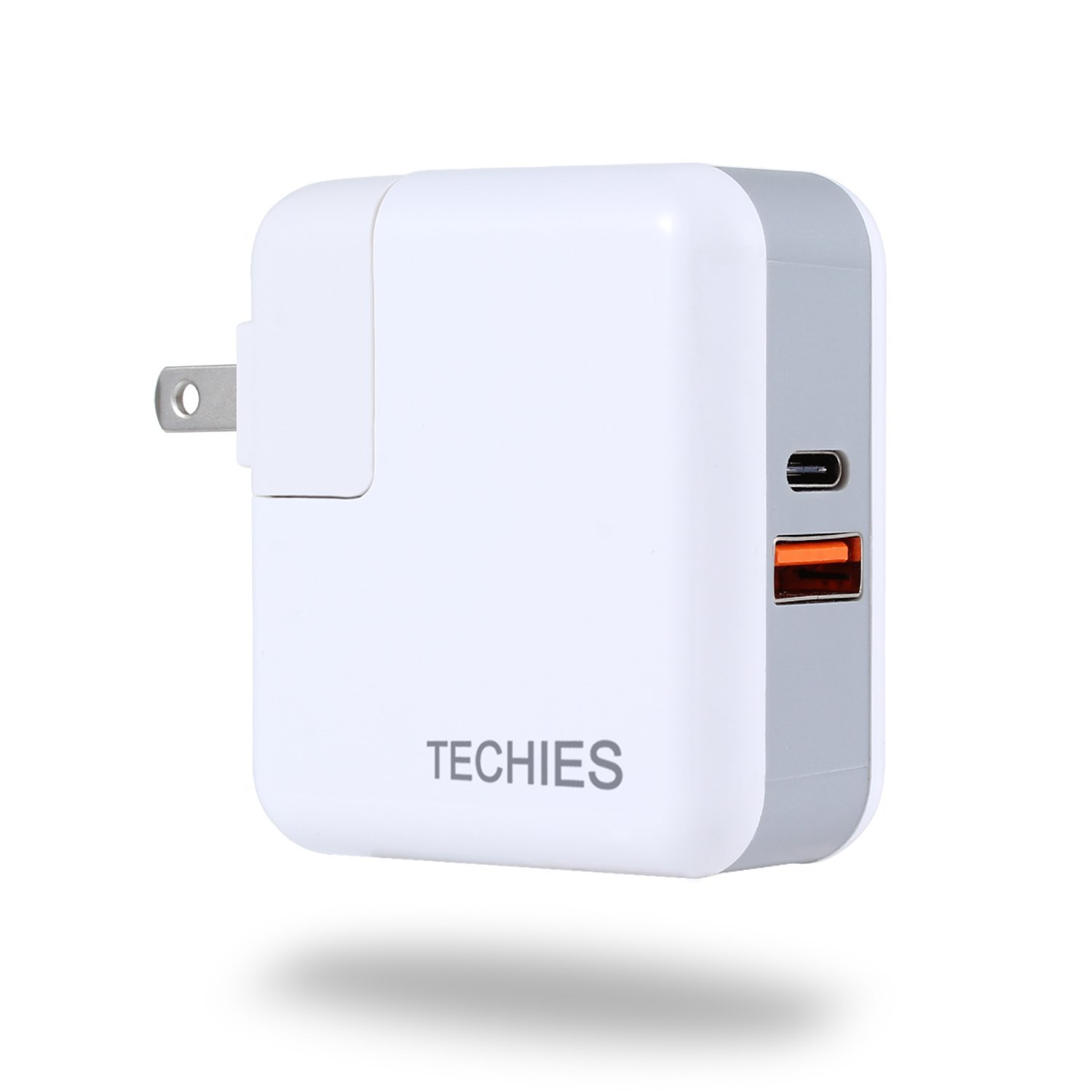 For Fast Charging iPhone X, 8, 8 Plus 50% Battery In 30 Mins., TECHIES 29W PD Power Delivery USB Type-C/A Wall/Travel Adapter; Also Quick Charges Android Phones 4 Times Faster Than Non-QC 3.0 Charger