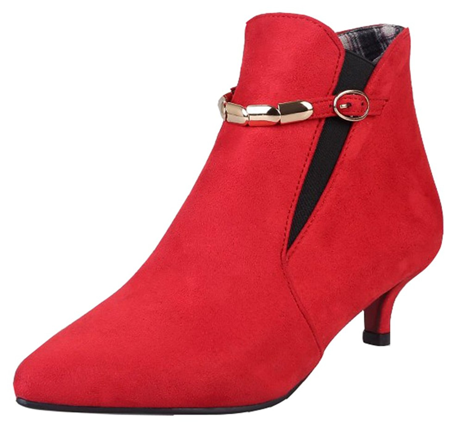 eba5f798b49 Get Quotations · SHOWHOW Women s Cute Pointed Toe Kitten Heel Elastic Ankle  Booties
