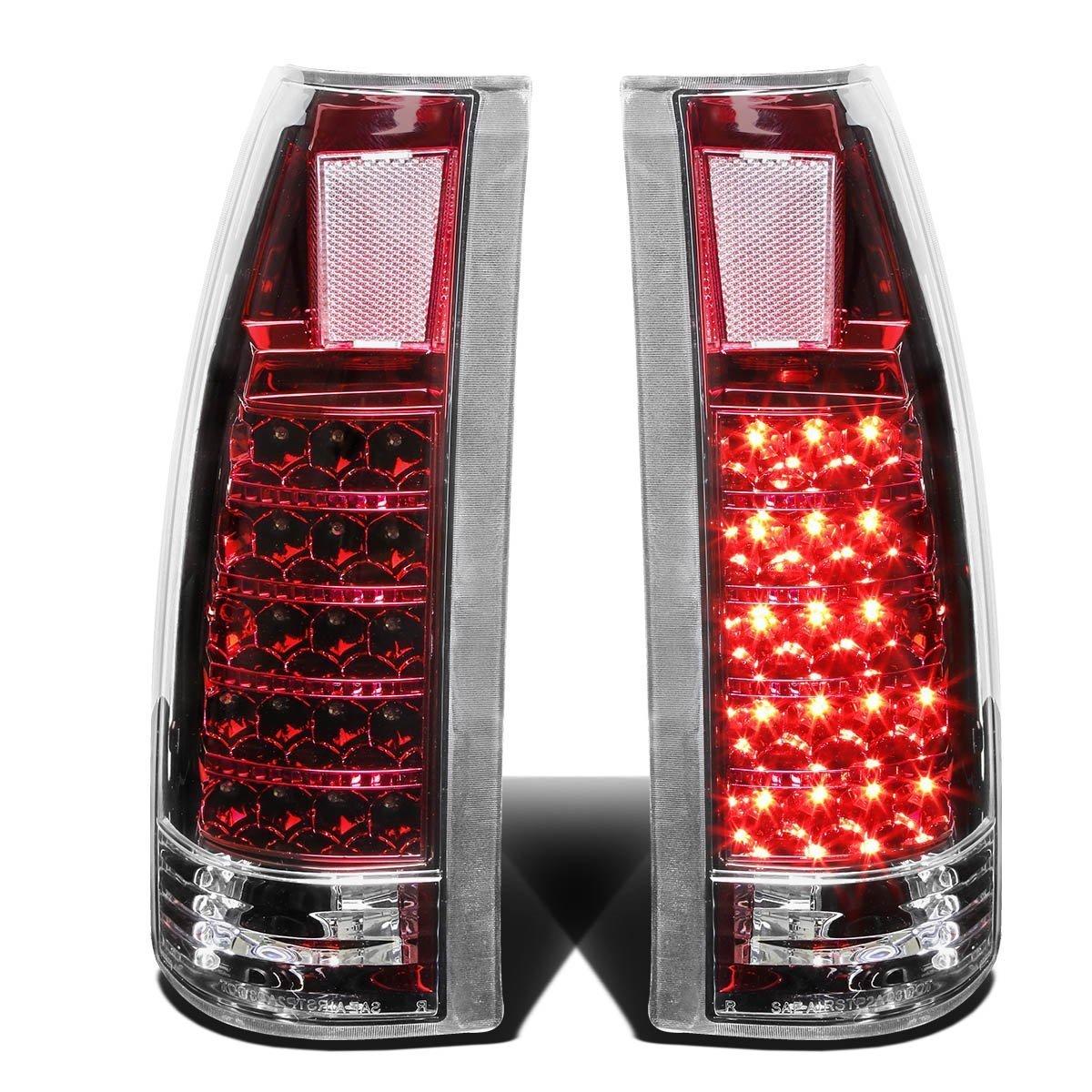 Rxmotor Chevy C1500 C2500 C3500 Full Size Blazer Tahoe GMC Yukon Suburban 1500 2500 Pickup Tail Light LED Rear Brake Lights Lamps Lamp Pair (Red Chrome)