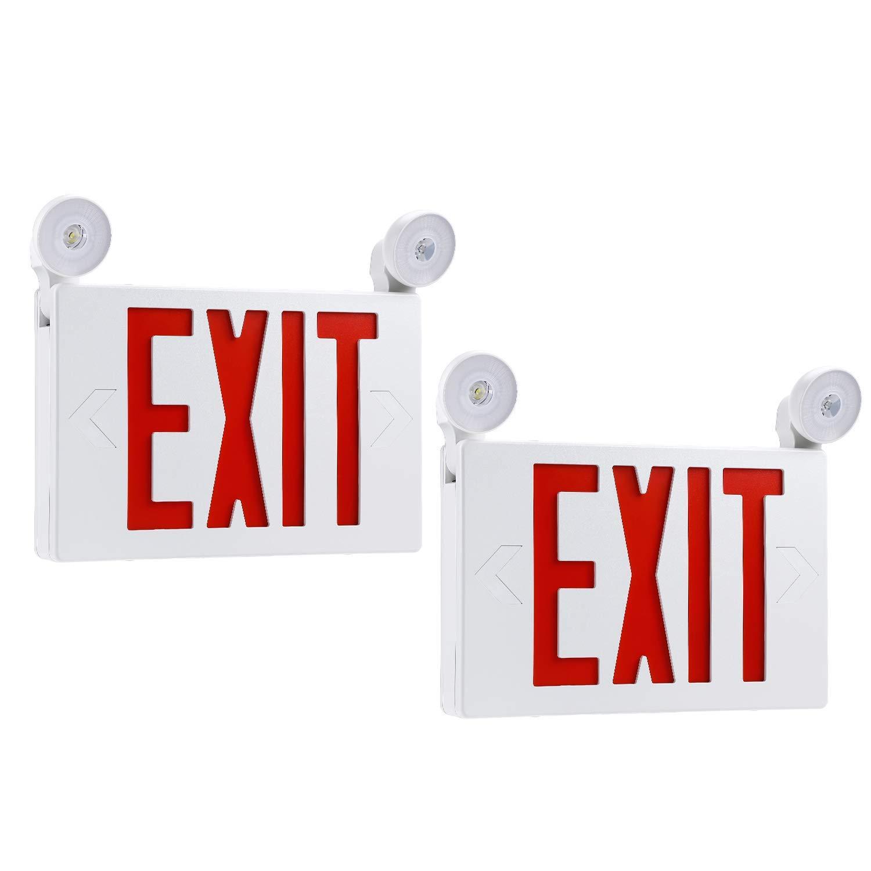 Red LED Exit Sign with UL Listed Emergency Light, AC 120V/277V, Battery Included, Ceiling/Side/Back Mount Sign Light, for Hotels, Restaurants, Shopping Malls, Hospitals, Pack of 2