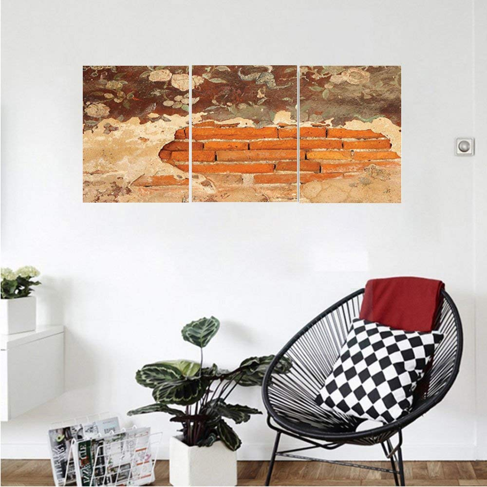 Liguo88 Custom canvas Antique Decor Collection Old Historical Floral Mural Painting on A Wall Concrete Bricks Rustic Home Decoration Bedroom Living Room Wall Hanging Orange Beige