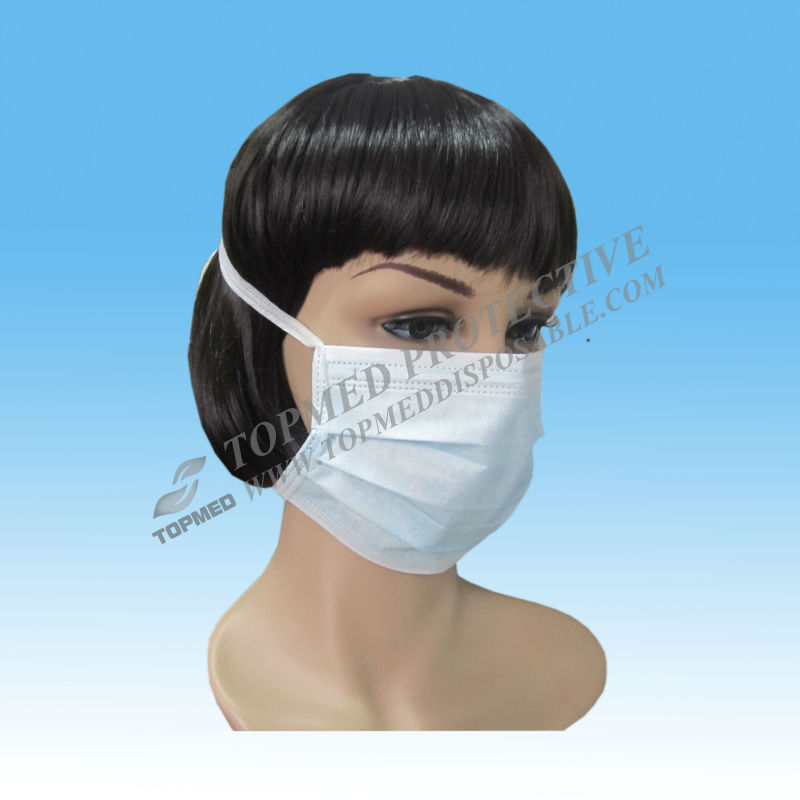 Disposable pleated three folds face mask with latex free