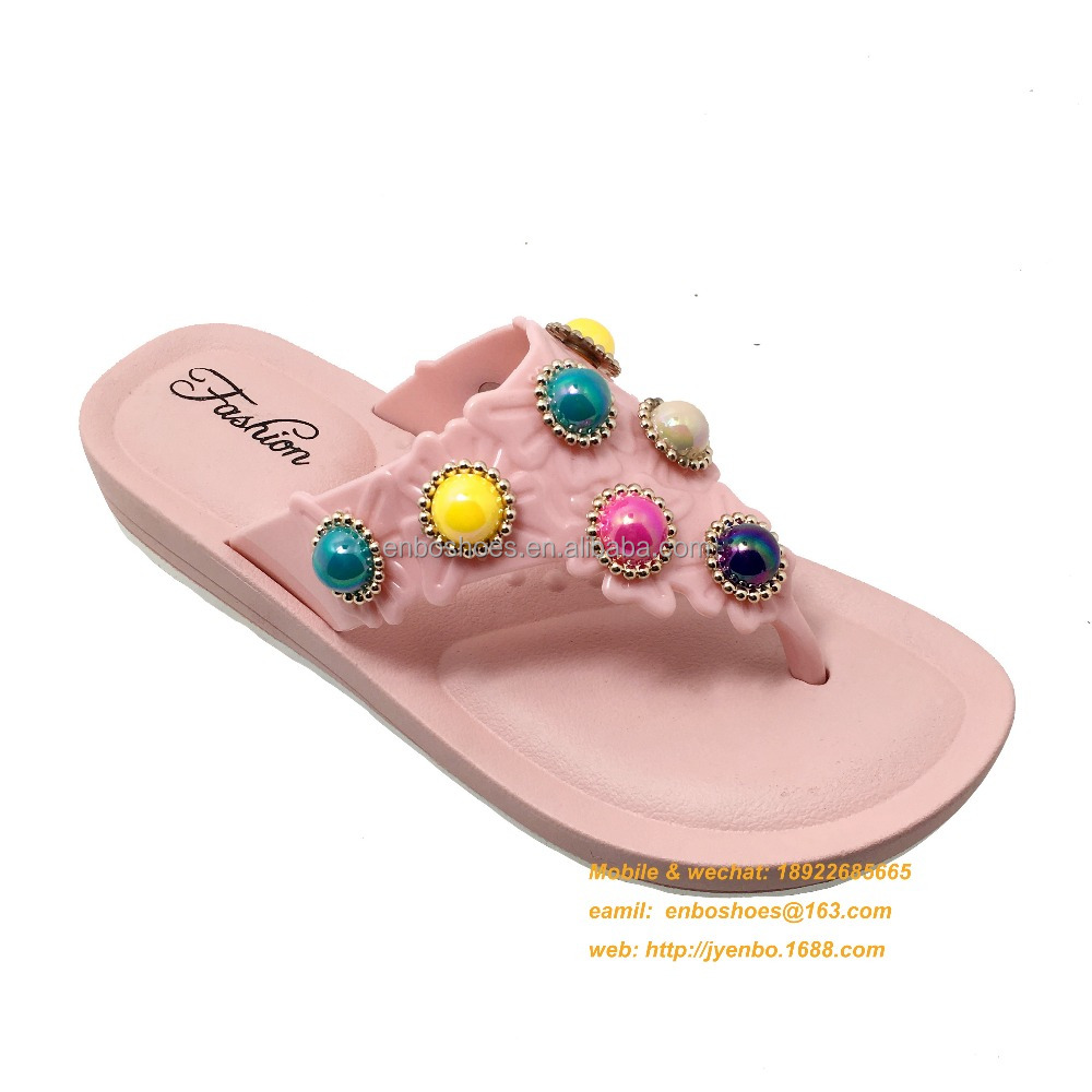 Custom flip flops for women Latest PVC ladies flat flip flops china