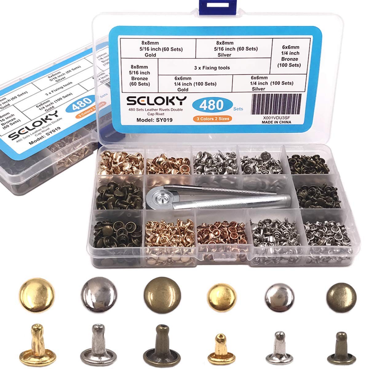 Seloky 480 Sets Leather Rivets Double Cap Rivet Tubular 3 Colors 2 Sizes Metal Studs with Fixing Tools for DIY Craft/Clothes/Shoes/Bags/Belts Repair and Decoration