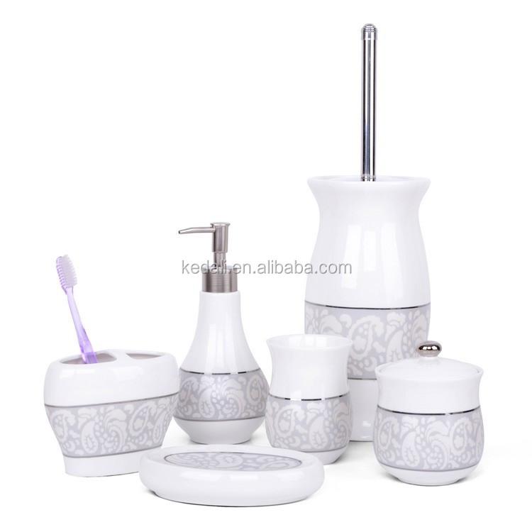 India luxury toilet set accessory bathroom ceramic buy for Bathroom accessories set india