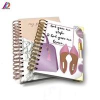 Promotional gold wire-o binding A5 hardcover paper notebook with gold corner protectors