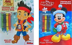 Children's Coloring Book Gift Set Includes Jake and the Neverland Pirates Coloring & Activity Book with 2 Sticker Sheets Inside, Mickey & Friends Coloring & Activity Book with 2 Sticker Sheets