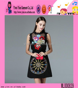 2016 latest design two piece embroidery party dress short sexy Europe ladies fashion wholesale club dresses