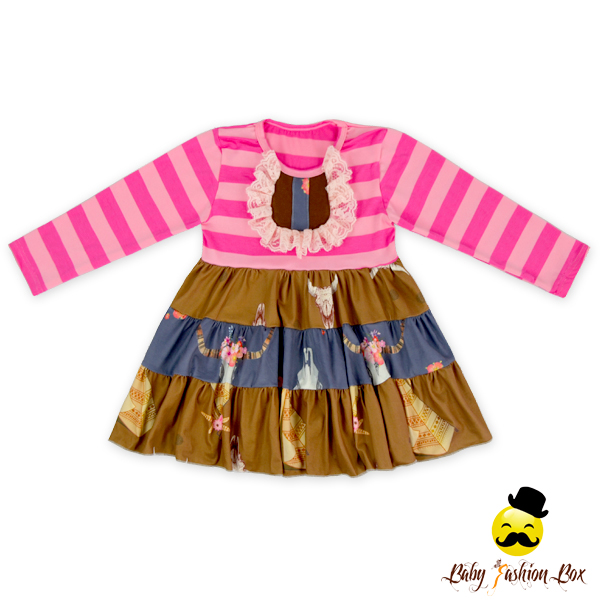 66TQZ525 Yihong Girls Boutique Clothing Autumn Stripe Smocked Dress Ruffle Boutique Clothes Babies