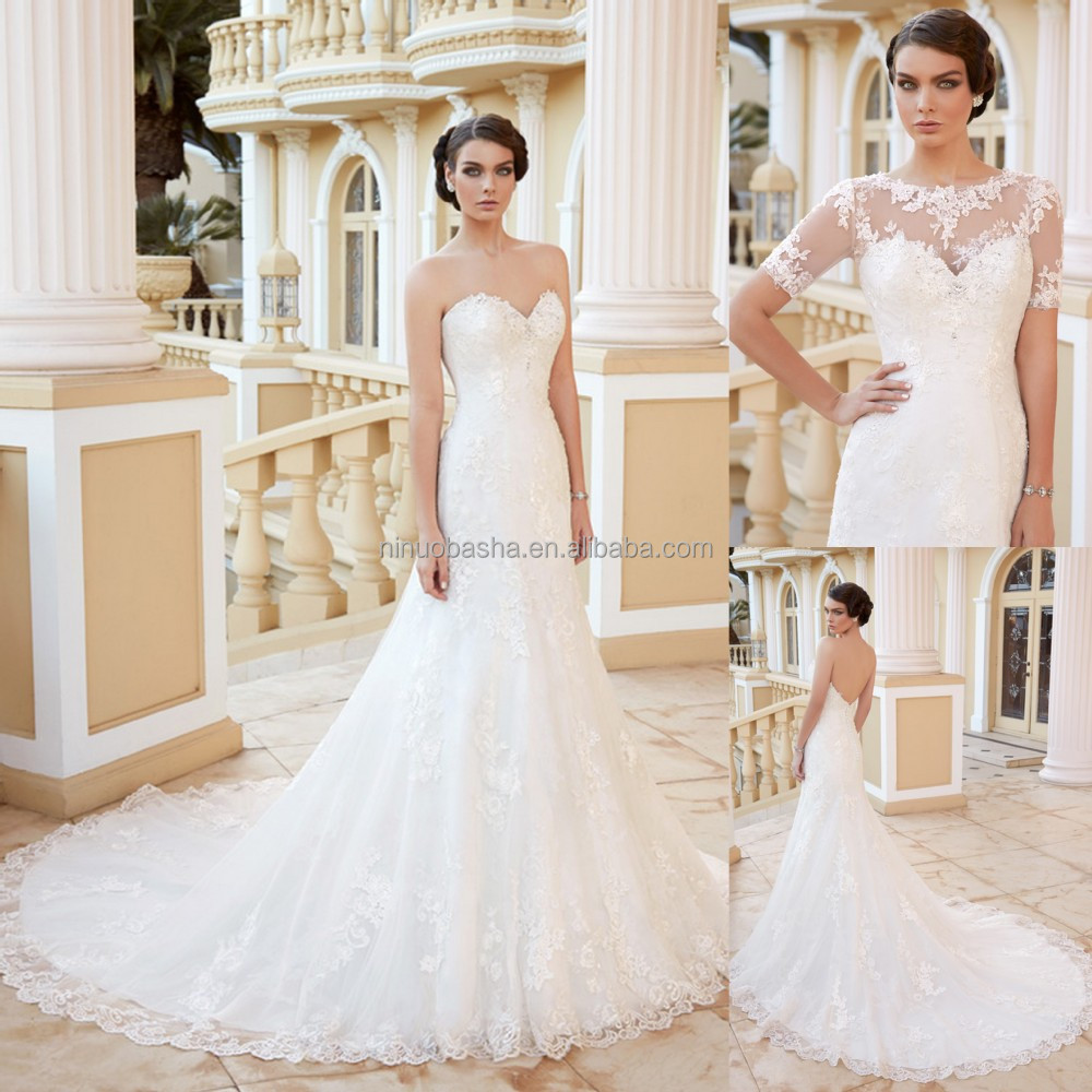 Charming 2015 Lace Mermaid Wedding Dress With Short Sleeve Jacket Sweetheart Low Cut Back Long Zipper